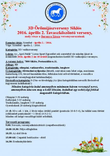 BÍ I. Tavaszköszöntő 3D örömíjász és fúvócső verseny Siklóson